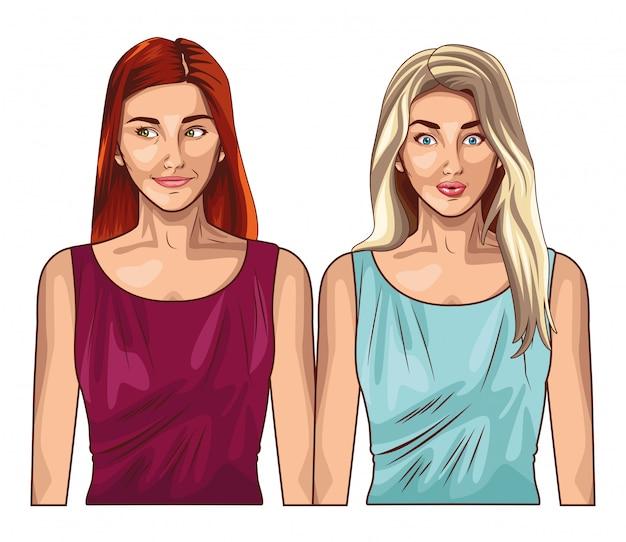 漫画を笑顔のポップアート女性モデル