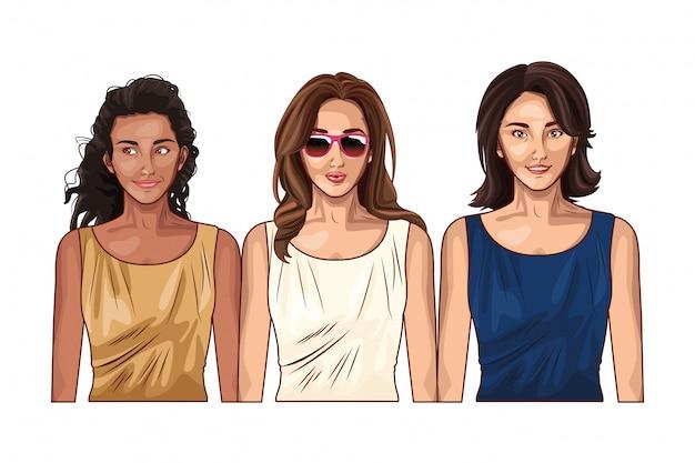 Поп-арт женские модели, улыбающиеся мультики