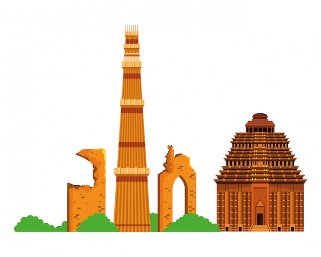 インドの建物のモニュメントアイコン漫画