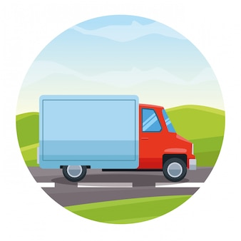 Грузовой автомобиль едет по шоссе мультфильм