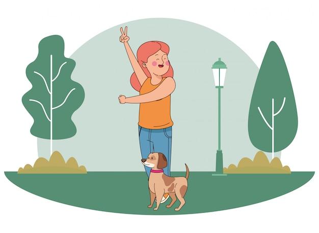 ティーンエイジャー笑顔と犬の漫画を歩く