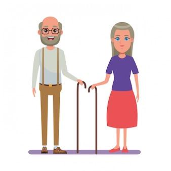 高齢者のアバターの漫画のキャラクター