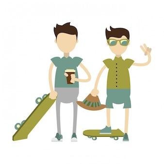 緑のスケートボードと流行に敏感な男の子