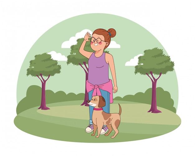 犬漫画を歩いてティーンエイジャーの女の子