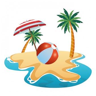 夏の傘の下のビーチボール