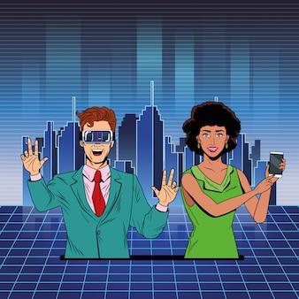 Пара с гарнитурой виртуальной реальности