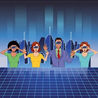Группа людей с гарнитурой виртуальной реальности
