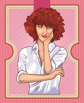 Поп-арт красивая женщина мультфильм