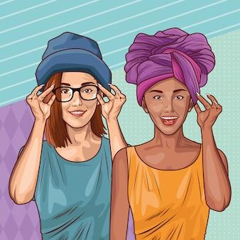 ポップアートのファッションと美しい女性の漫画