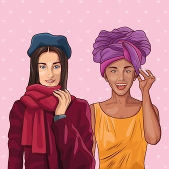 Поп-арт мода и красивый женский мультфильм