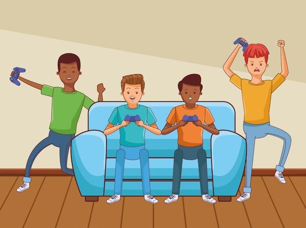 白と黒のミレニアル世代とビデオゲームの漫画