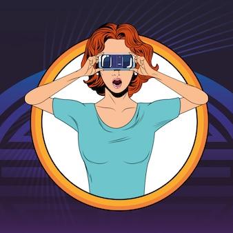 仮想現実のヘッドセットを持つ女性