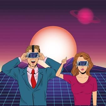 仮想現実のヘッドセットを着ているカップル