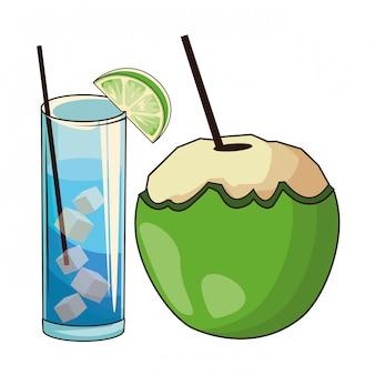 ガラスとココナッツのカクテル