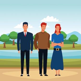 人アバターの漫画のキャラクターのグループ