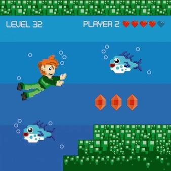 レトロなビデオゲームのピクセル化された風景