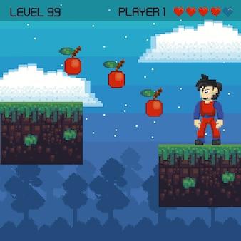 Ретро видеоигры неровной пейзаж