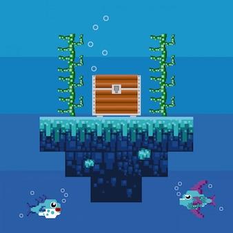 レトロなビデオゲームのピクセル化された水中風景