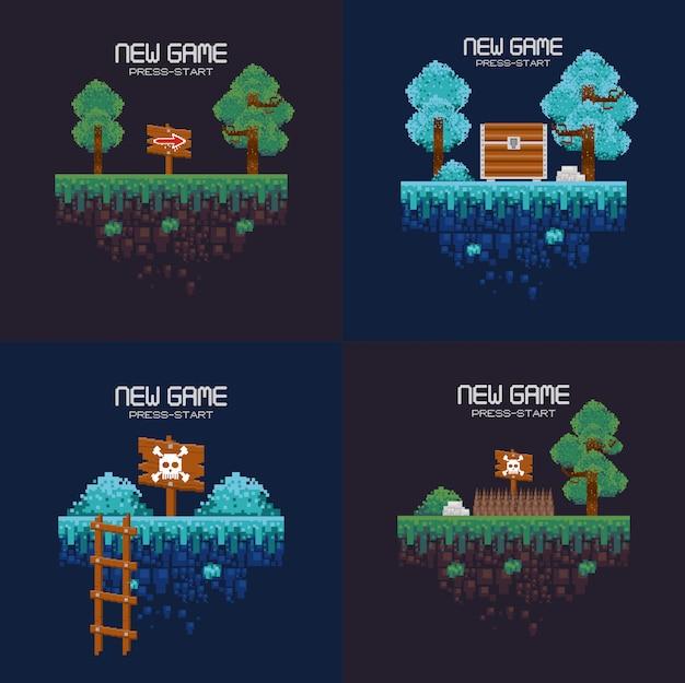 レトロなビデオゲームのピクセル化された風景のセット