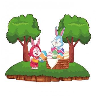 森のかわいいイースターバニー幸せな友達