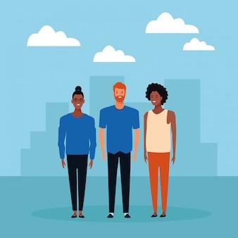 Группа людей аватар мультипликационный персонаж