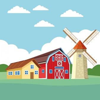 農場の納屋と風車