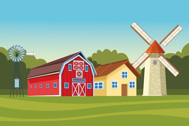農場の納屋と風車の風力タービン