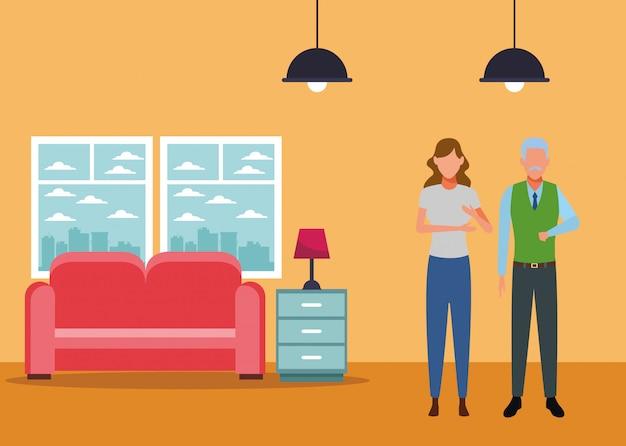 若い女性と老人