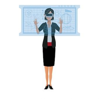 ビジネスの女性のユーザーの眼鏡のインターフェイスは、オンラインで