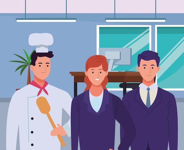 漫画を浮かべてプロの労働者のキャラクター