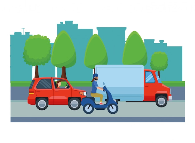 運転手が乗る車両とオートバイ