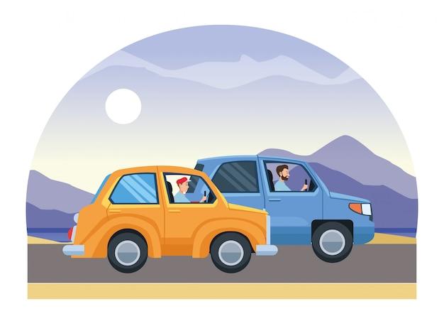 交通の中で車を運転する人々