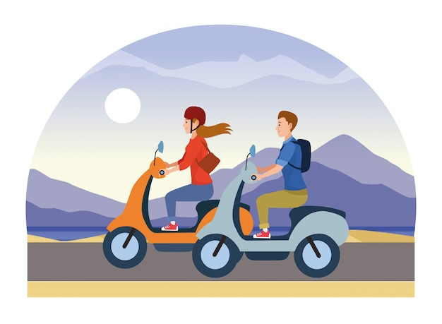 Люди катаются на скутерах, мотоциклах, мультфильмах