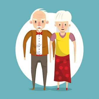 漫画の笑みを浮かべて美しい老夫婦