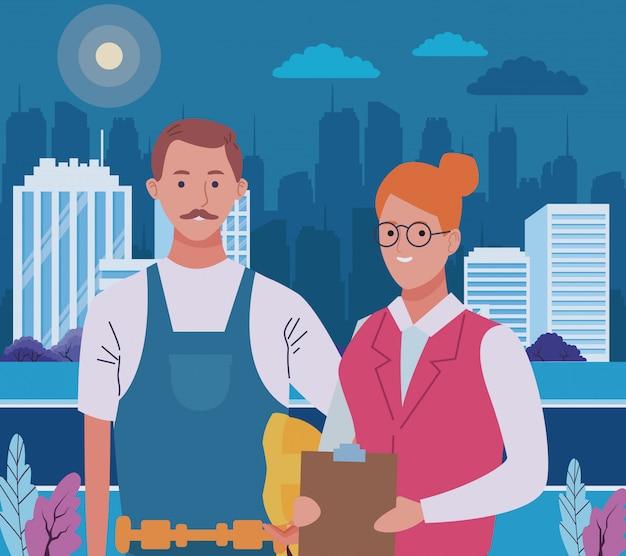 プロの労働者のカップルの笑顔の漫画