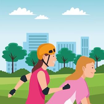 自転車とスケートボードを持つ若者