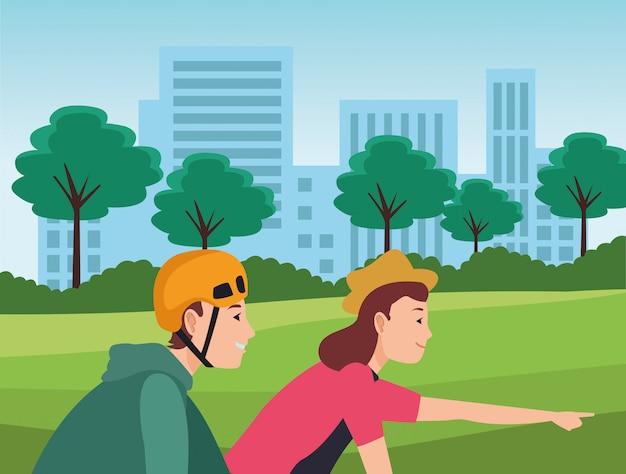 若者が自転車に乗る漫画
