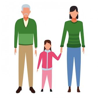 老人女性と子供のアバター