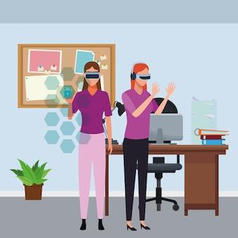 仮想現実の眼鏡で遊ぶ人々