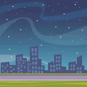 都市景観の風景漫画