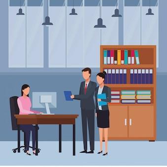 ビジネスの人々とオフィスの要素