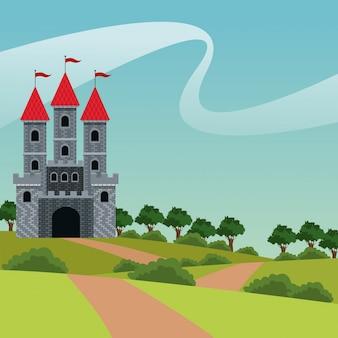 かわいい城の赤い屋根の旗風景道路