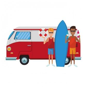 人とサーフィン