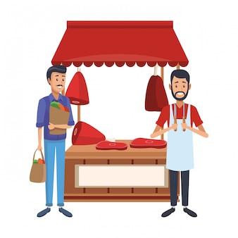 肉屋の屋台市場