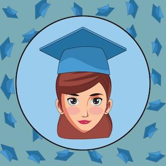 大学院の若い女性の漫画