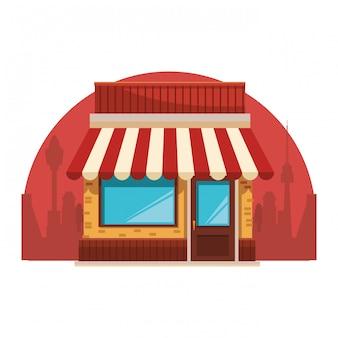店の建物の漫画