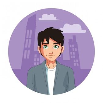 若い男の顔漫画