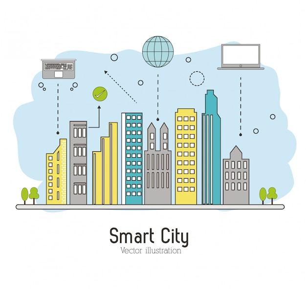 スマートシティ。ソーシャルメディアのアイコン。技術コンセプト