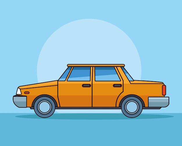 Старый классический желтый автомобиль вид сбоку