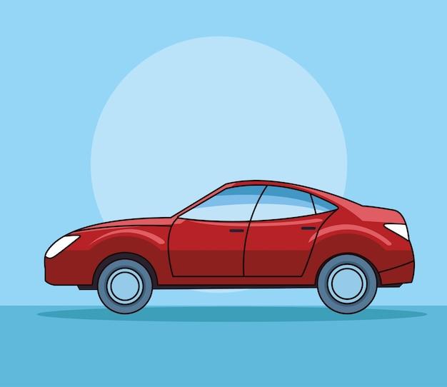 Современный седан красный автомобиль вид сбоку